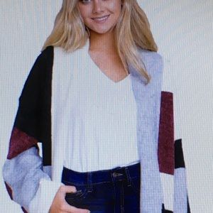 •Black Red Multi Color Block Open Front Cardigan